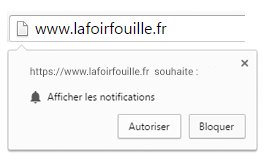 Pop-up d'affichage des notifications