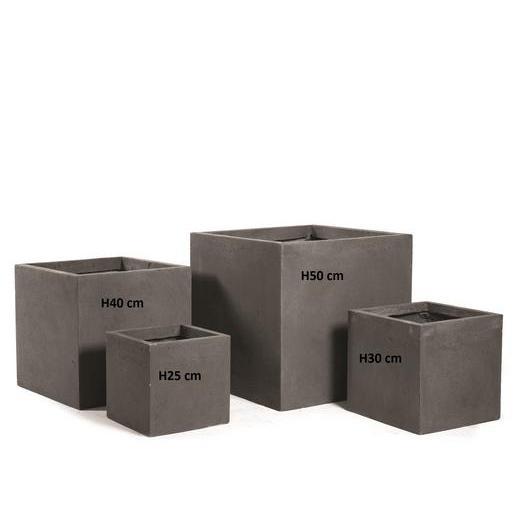 Cache pot carré - Fibre d\'argile - Gris - Pots de fleur et cache-pot ...