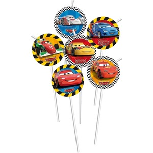 Lot de 6 pailles Cars rsn en carton - 24 cm - Multicolore