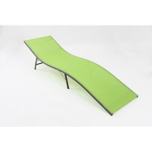 Transat Sista- Acier - Textilène - Vert - Bain de soleil   La Foir ... b3c7e1479fe8