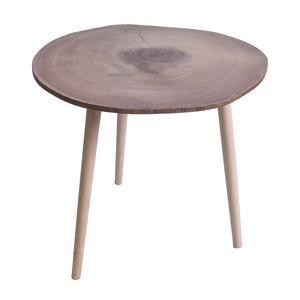 Table basse aspect rondin de bois - Pin et mdf - Ø 60 x 49 cm - Marron