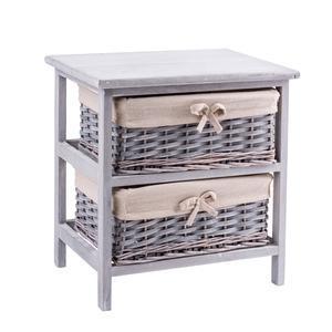 meuble 2 paniers paulownia 40 x 29 x h 41 cm gris