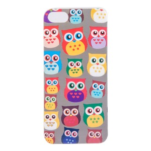 Coque protectrice d'Iphone 5 hiboux en plastique - 12 x 6 cm - multicolore