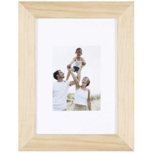 Porte-photo Optimo en bois brut  et MDF - 22 x 17 cm - Beige
