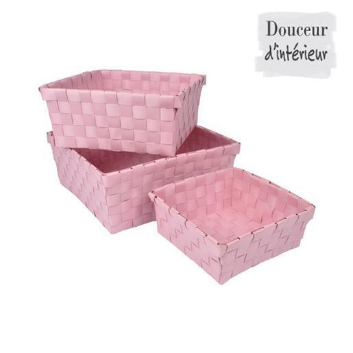 Lot de 3 paniers Plastique Rose Accessoires salle de bain