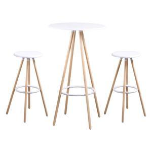 Table de bar + 2 tabourets - Acier et mdf - Ø 60 x H 105 cm - Blanc et marron