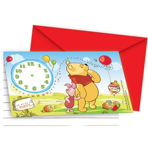 Lot de 6 cartes invitations Winnie en carton - 16 x 17 cm - Multicolore