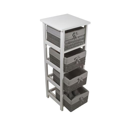 meuble palma 4 tiroirs - bois laqué - gris - accessoires salle de