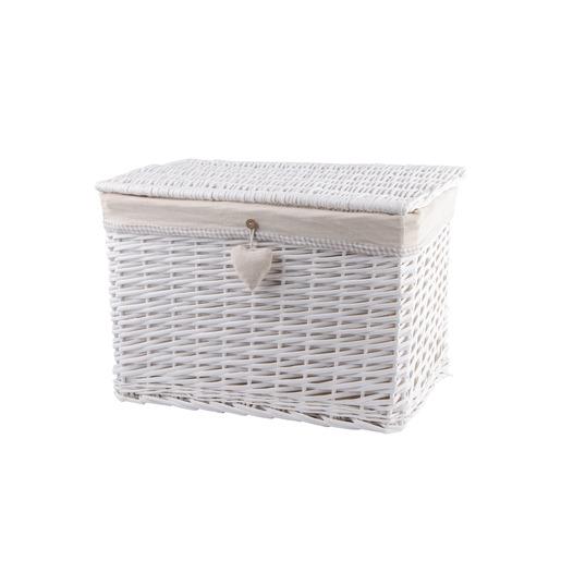 Malle En Osier 50 X 30 X H 30 Cm Blanc Beige Paniers Et Boites De Rangement La Foir Fouille
