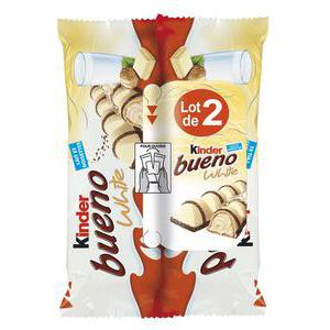 Lot de 2 barres KINDER BUENO au chocolat blanc - 2 x 86 g