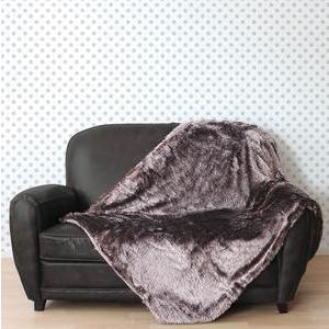 Plaid - 100% polyester - 125 x 150 cm - Marron