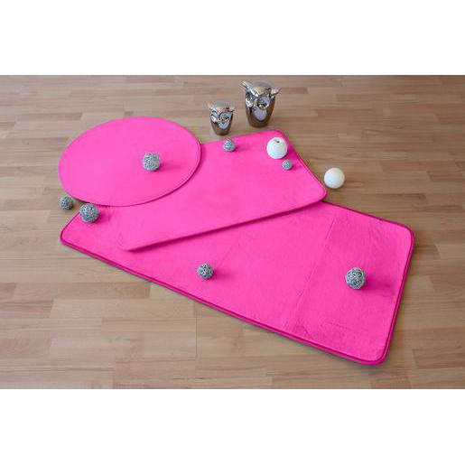 Tapis - Polyester et latex - Diamètre 60 cm - Rose