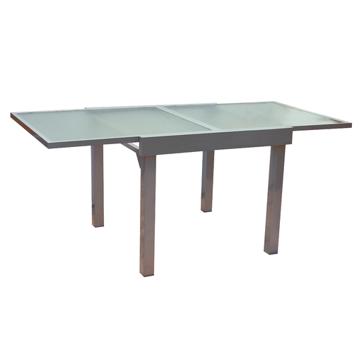 Table - Aluminium - Verre - Gris - Salon de jardin | La Foir\'Fouille