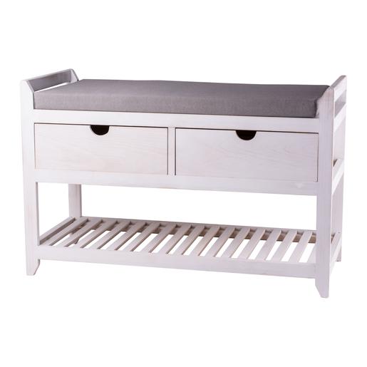 Banc de rangement 2 tiroirs - Pin - Blanc - Meubles de rangement ...