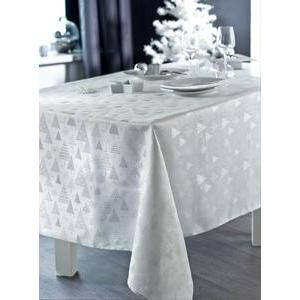 Nappe broderies sapins - 100 % polyester - 150 x 250 cm - Blanc
