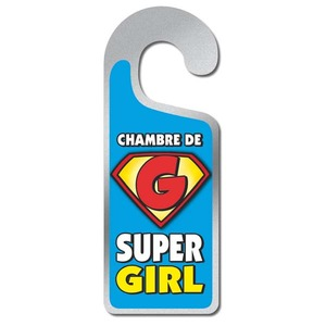 Plaque de porte - Chambre de super girl - 8 x 20 cm