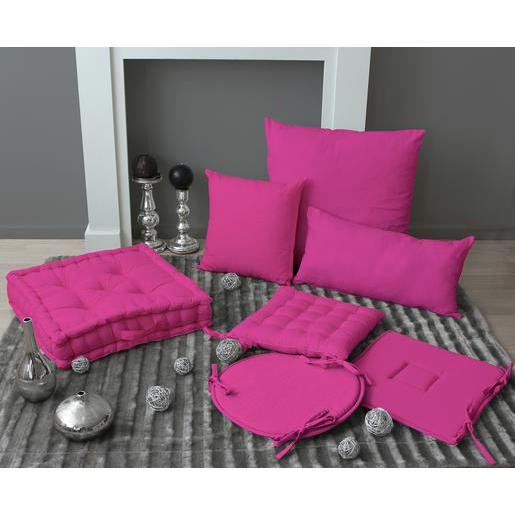 galette de chaise 100 coton 40 x 40 cm rose fushia - Coussin De Chaise 40x40