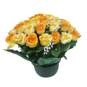 Composition de roses - Plastique, Polyester - Orange Jaune Rose Rouge