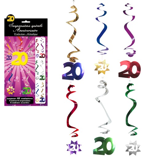 Lot de 6 suspensions spirales Anniversaire 20 ans - 61 cm - Multicolore