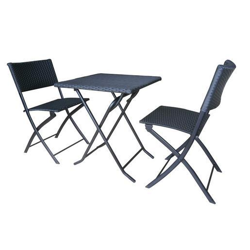 Ensemble table et chaise balcon m tal r sine noir for Ensemble table et chaise rotin