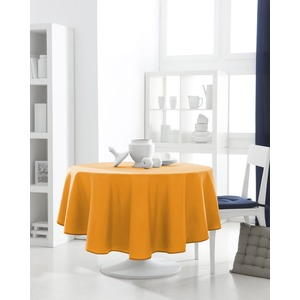 Nappe de table ronde 100% coton 180 cm - Orange vendange