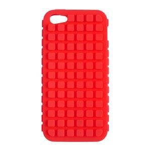 Coque iPhone 5 - Silicone - 6,5 x 1 x H 13 cm - Rouge ou bleu