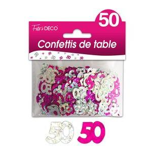 "Confettis de table ""50 ans"" hologramme - Rose"