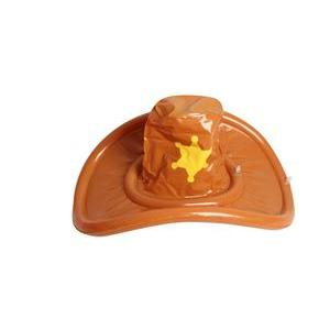 Chapeau de cow boy gonflable - PVC - Ø 48 x H 28 cm - Marron