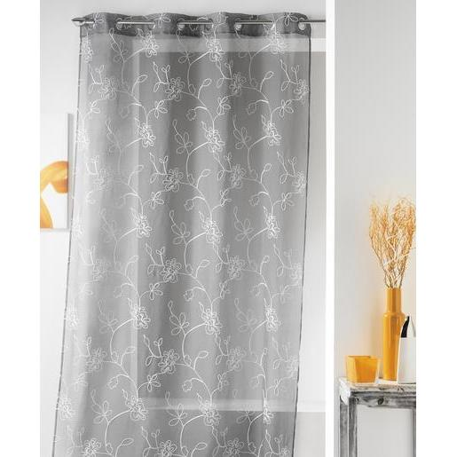 Voilage - 100 % polyester - 140 x 240 cm - Gris