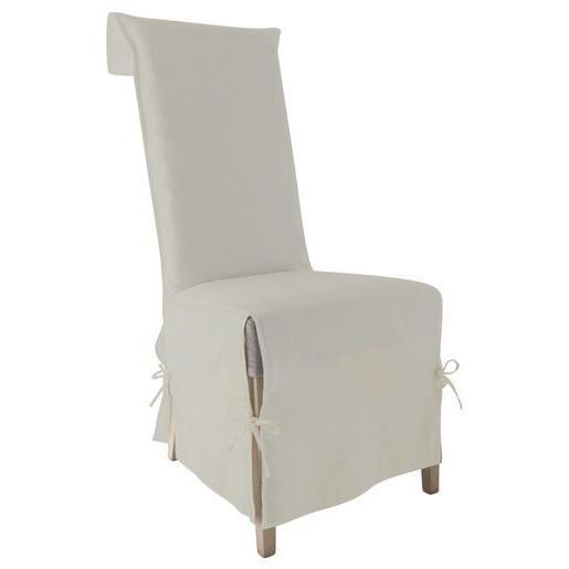 Housse Chaise En Coton 40x40x72cm Beige Cru