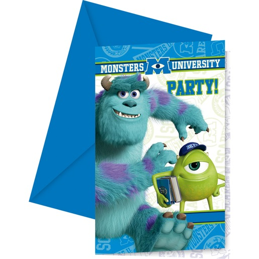 Lot de 6 cartes d'invitation + enveloppe Monsters university en carton - 11 x 21 cm - Multicolore