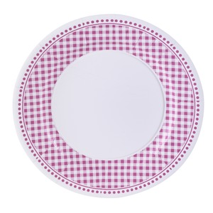 Lot de 10 assiettes en carton motif vichy - Diamètre 23 cm - Rose, blanc