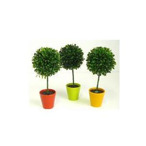 Petit pot buisson - Plastique - H 26 cm - Orange, vert ou jaune