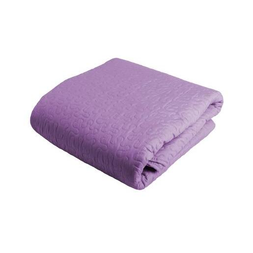 Boutis 220 x 240 cm + taies 63 x 63 cm - 100 % Polyester - Violet