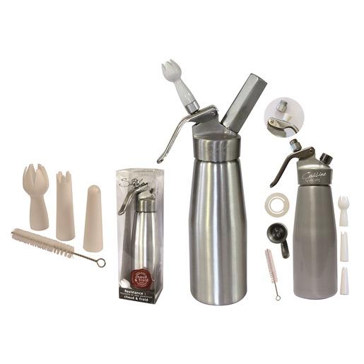 Syphon Cuisine   Siphon En Aluminium Chaud Et Froid Contenance 500 Ml Gris