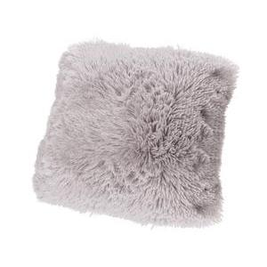 Coussin Shaggy - 100 % polyester - 40 x 40 cm - Gris