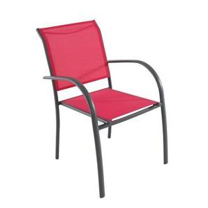 Fauteuil Piazza - 56 x 65 x H 88 cm - Rouge framboise, gris - HESPERIDE