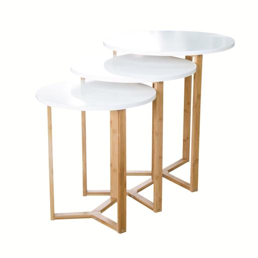 Lot De 3 Tables Gigogne Mdf Bambou Blanc Marron Meubles