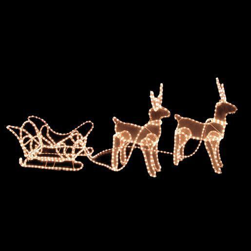 traineau + 2 rennes lumineux - plastique - blanc - décoration