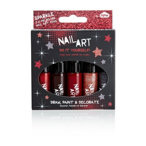 Coffret Nail Art - 5 vernis - Rouge bordeaux