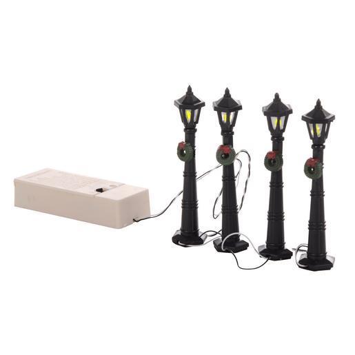 Lot de 4 lampadaires lumineux pour village plastique for Accessoire deco pas cher