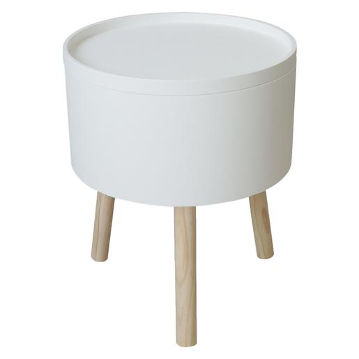 Table ronde d\'appoint avec rangement - Bois - MDF - Blanc - Meubles ...