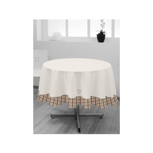 Nappe ronde collection Vosges - Diamètre 180 cm - Marron taupe