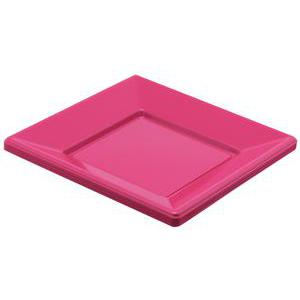 Lot de 8 assiettes - plastique -23 cm x 23 cm - Rose fushia