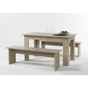 Ensemble table + 2 bancs - 138 x 80 x H 75 cm - Beige