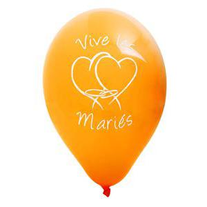 Lot de 8 ballons imprimés vive les mariés - Latex - Diamètre 30 cm - Orange