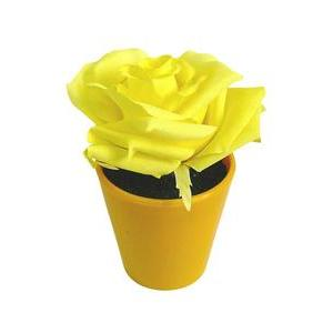 Rose artificielle en pot - Plastique - Ø 7 x H 12 cm - Rose ou jaune