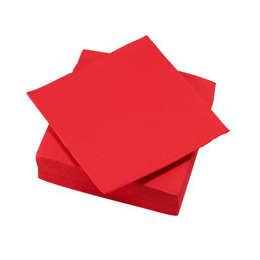 Lot de 40 serviettes - ouate - 38 cm x 38 c m - Rouge