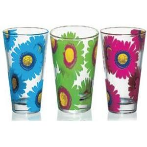 Lot de 3 gobelets flowers - Verre - 31 cl - Multicolore