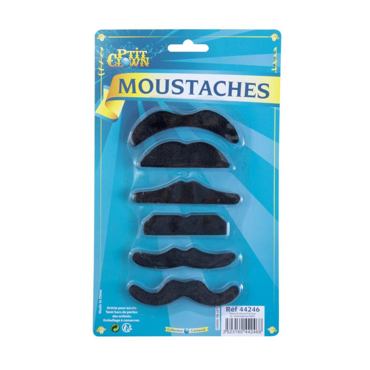 6 moustaches assorties
